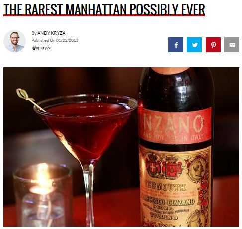 Checkout THRILLIST's article on our Ultimate Manhattan! One night only Wednesday, Jan. 30th.