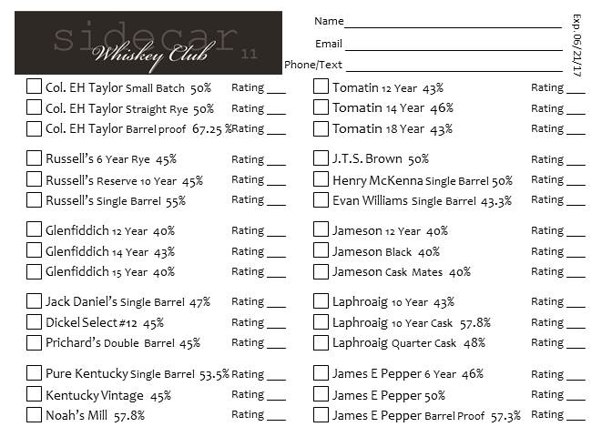 Tasting Card 6.23.16
